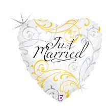 """HERZ JUST MARRIED 46 CM/HEART 18"""" HOLO"""